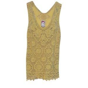 Yoana Baraschi Anthropologie Yellow Crochet Top